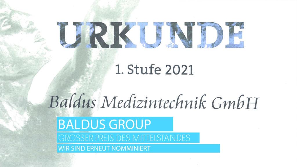 Großer Preis des Mittelstandes 2021- Urkunde 1. Stufe